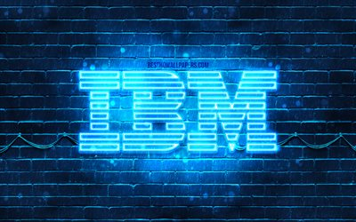 IBM blue logo, 4k, blue brickwall, IBM logo, brands, IBM neon logo, IBM