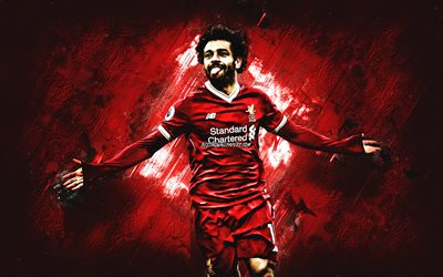 Mohamed Salah, Egyptian footballer, Liverpool FC, portrait, creative art, red creative background, football star, Premier League, England, football