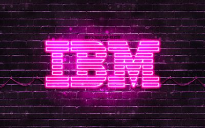 IBM purple logo, 4k, purple brickwall, IBM logo, brands, IBM neon logo, IBM