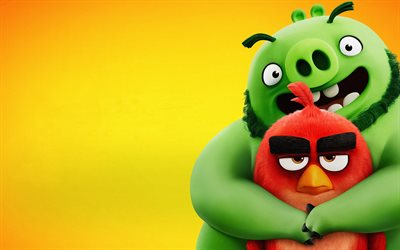 4k, Red and Leonard, minimal, The Angry Birds Movie 2, 2019 movie, 3D-animation, Angry Birds 2, Red, Leonard