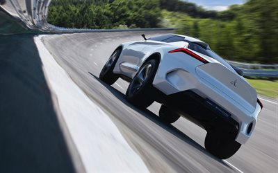Mitsubishi E-Evolution, 2017, Concept, Nordschleife, rear view, electric car, crossover, Nürburgring, racing track, Japanese cars, Mitsubishi