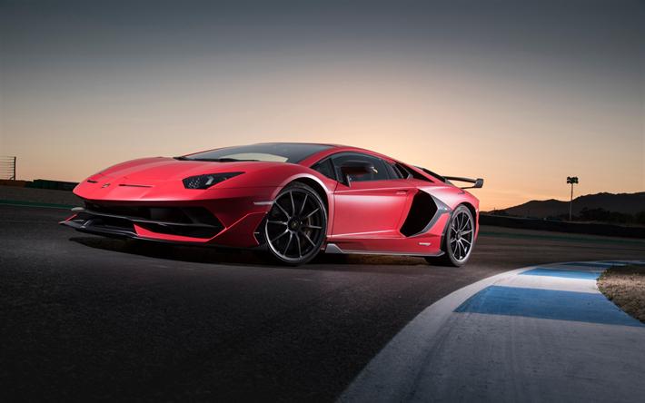 Download Wallpapers Lamborghini Aventador SVJ, 2018, Red