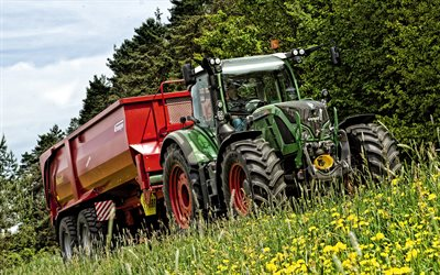 Fendt 720 Vario, tractor, Agricultural machinery, harvesting concept, tractor with trailer, Fendt
