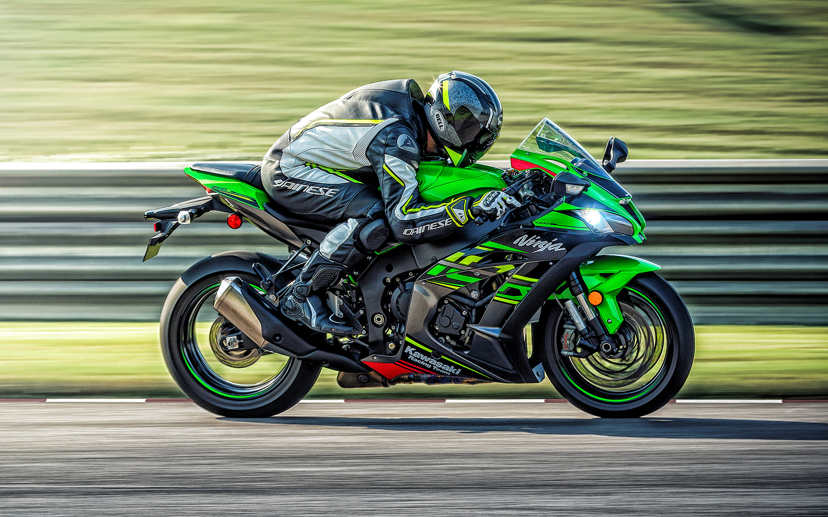2019, Kawasaki Ninja ZX-10R, side view, black-green ZX-10R, sports bike, motorcycle racing, japanese motorcycles, Kawasaki