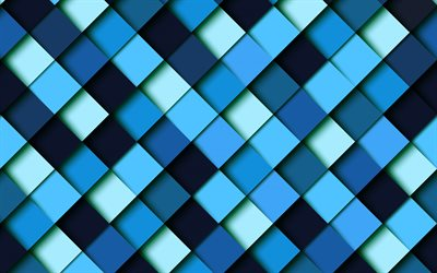 Blue abstraction, blue mosaic background, creative blue background, blue rhombuses texture, geometric backgrounds