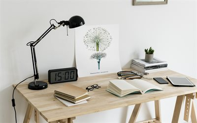 workplace, book on the table, stylish cabinet interior, modern interior design, painting with dandelion