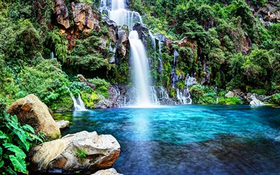 4k, Reunion Island, beautiful nature, waterfalls, HDR, Saint-Gilles, France