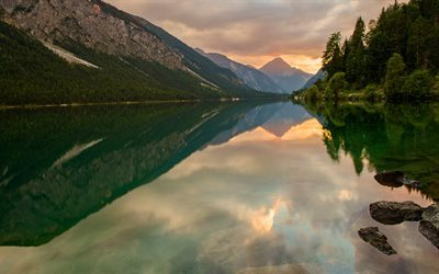 lake, mountains, mountain lake, sunset, forest