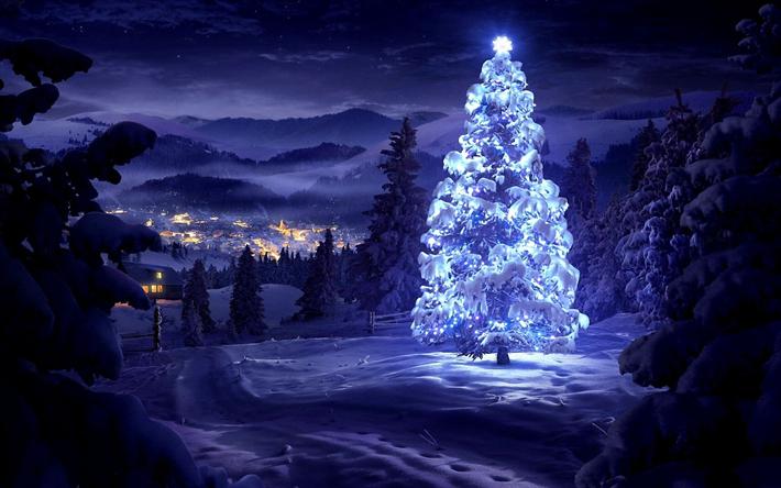 Sfondi Natalizi 4k.Scarica Sfondi Albero Di Natale 4k Il Nuovo Anno Foresta Inverno