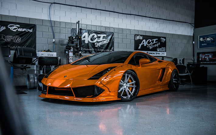 Download wallpapers Lamborghini Gallardo, orange sports ...