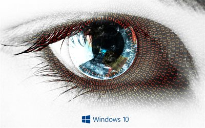 Windows 10, 4k, human eye, art creative, Microsoft