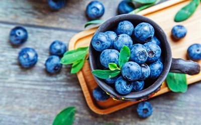 4k, blueberry, bokeh, close-up, blueberries, fresh fruits, berries, basket of berries, fruits