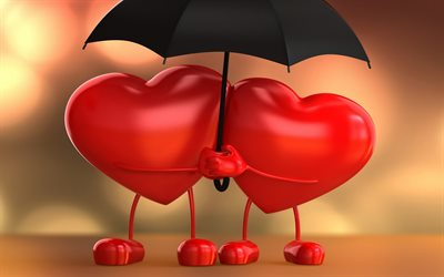 two hearts, 3D art, love concept, black umbrella, 3D hearts