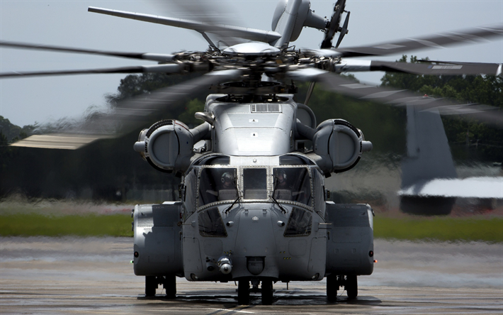 Sikorsky CH-53K King Stallion, large heavy cargo helicopter, military helicopter, US Navy, USA, US Marine Corps, Sikorsky
