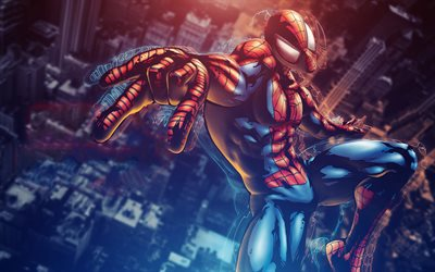 4k, Spiderman, 3D arte, supereroi, volante spiderman Marvel Mangaverse, Spider-Man, la DC Comics