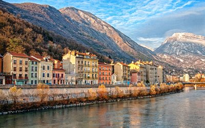 Grenoble, French Alps, autumn, evening, sunset, mountain landscape, river Drac, Grenoble cityscape, France