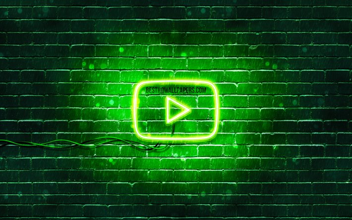 Download Wallpapers Youtube Green Logo 4k Green Brickwall