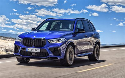 BMW X5 M Competition, 2020, exterior, front view, new blue X5, luxury blue SUV, German cars, BMW