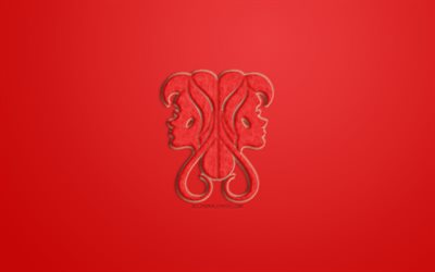 Gemini Zodiac Sign, red fur sign, horoscope signs, zodiac signs, Gemini Sign, astrological sign, Gemini, red background