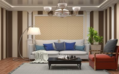 classic style living room project, brown beige living room, leather on the walls, luxury chandelier in classic style, white columns in the living room