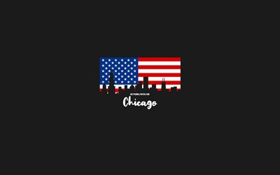 Chicago, American cities, Chicago silhouette skyline, USA flag, Chicago cityscape, American flag, USA, Chicago skyline