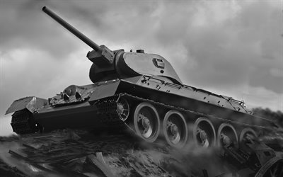 T-34, 4k, monochrome, World War II, tanks, WWII, Soviet tanks, World War