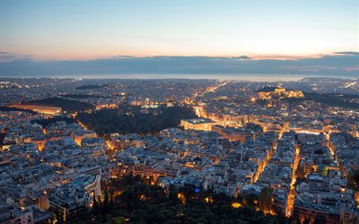 Athens, evening, sunset, cityscape, Athens panorama, Greece, capital of Greece