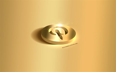 Pinterest 3d gold logo, Pinterest emblem, Pinterest logo, gold background, Pinterest, social media, 3d art