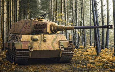Tiger II, german heavy tank, Panzerwaffe, World War II, Panzer Tiger II, German Army, Second World War