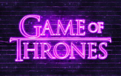 Game Of Thrones violet logo, 4k, violet brickwall, TV Series, Game Of Thrones logo, fashion Game Of Thrones neon logo, Game Of Thrones