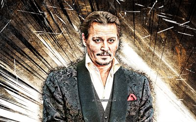 4k, Johnny Depp, grunge art, american actor, movie stars, american celebrity, John Christopher Depp II, brown abstarct rays, Johnny Depp 4K