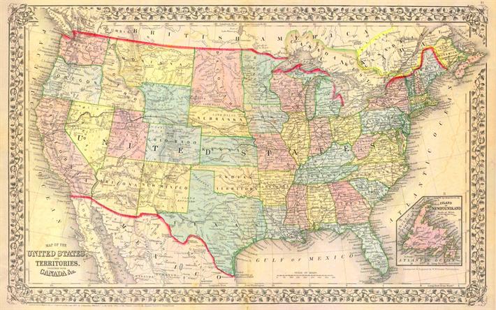 Lataa Kuva Usa Vanha Kartta 1867 Hallinnollinen Kartta