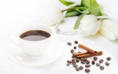 black coffee, coffee beans, coffee cup, white tulips, cinnamon sticks