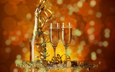 Champagne, glasses, New Year, holiday, golden ribbons