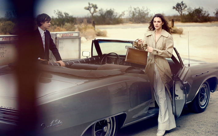 Vittoria Ceretti, Lucas Hedges, italian model, American actor, photoshoot, retro car