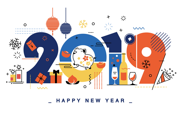Download wallpapers 2019 minimal art, 4k, Happy New Year