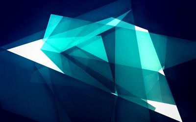 4k, geometric shapes, blue background, splinters, creative, artwork, geometric figures, geometry