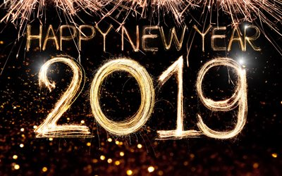 2019 fireworks concept new years night happy new year 2019 fireworks black