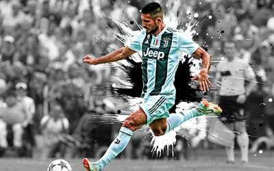 Emre Can, 4k, German football player, Juventus FC, midfielder, white black paint splashes, creative art, Serie A, Italy, football, Juve