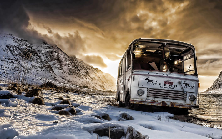abandoned bus, winter, sunset, mountains, broken bus, passenger transport, buses
