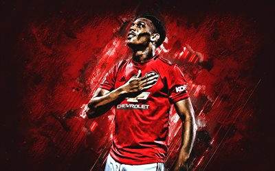 Anthony Martial, portrait, Manchester United FC, French footballer, Premier League, England, football, red stone background