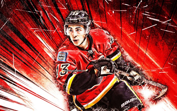 Download Wallpapers Johnny Gaudreau, NHL, Grunge Art