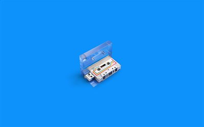 audio cassette, Compact Cassette, Music Cassette, blue background, music concepts, Cassette tape