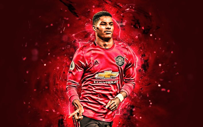 Download Wallpapers Marcus Rashford 2019 Manchester United Fc Goal English Footballers Premier League Neon Lights Soccer Football Man United For Desktop Free Pictures For Desktop Free