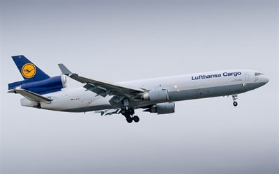 McDonnell Douglas MD-11, cargo airplane, MD-11F, air travel, Lufthansa Cargo, airplane in the sky, McDonnell Douglas