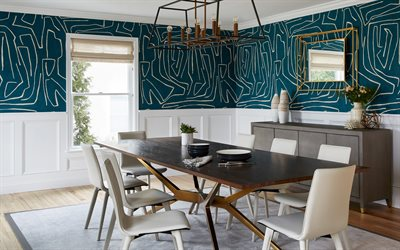 classic style in the dining room, blue walls with floral ornaments, modern interior design, dining room, classic style