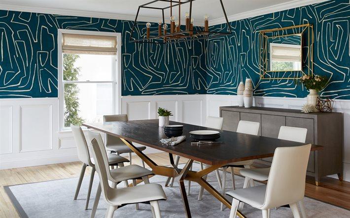 Scarica Sfondi Stile Classico Nella Sala Da Pranzo Pareti Blu Con Ornamenti Floreali Interni Dal Design Moderno Sala Da Pranzo Stile Classico Per Desktop Libero Immagini Sfondo Del Desktop Libero