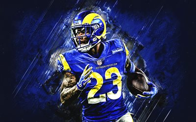 Download Wallpapers Cam Akers Nfl Los Angeles Rams American Football Portrait Blue Stone Background National Football League For Desktop Free Pictures For Desktop Free