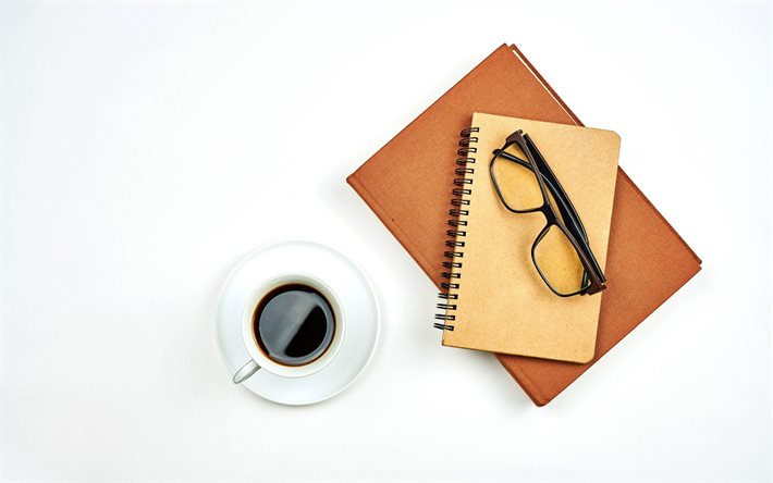 coffee cup, notepad, white cup, business concept, coffee on white background