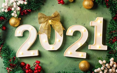 2021 new year, fir-tree frame, 2021 3D digits, xmas balls, 2021 concepts, 2021 on green background, 2021 year digits, Happy New Year 2021